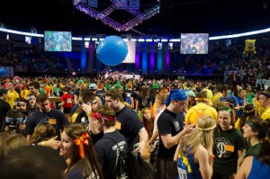 Photo by Andy Hornak | For The Duquesne Duke. An archive photo from 2014 shows Penn State University students gathering for its annual THON fundraiser, which raises money for pediatric cancer research.