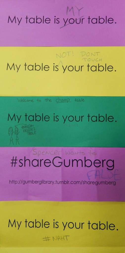 "(Courtesy of Kelley Cotter) ""Table Tents"" that have been modified by students unwilling to share library space with others."