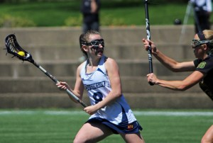 Natalie Fiorilli / The Duquesne Duke Sophomore midfielders Kaelin Shaw (above) and Tess Drotar both recorded hat tricks in their team's 13-9 over the George Mason Patriots.