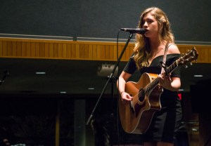 "Jacob Guerra | The Duquesne Duke Angela Mignanelli delivered a rendition of the popular Adele song, ""Set Fire to the Rain."" The talent show featured many musical performances."