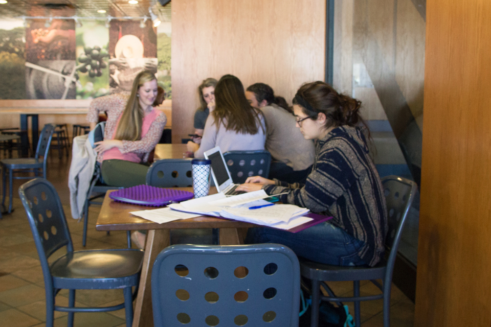 Photo by Claire Murray | Photo Editor. Tables all across campus will soon look like this one in the Union Starbucks. The fall term can take a heavy toll on both students and professors as Labor Day is the only break for classes between the first day of the semester and Thanksgiving break.