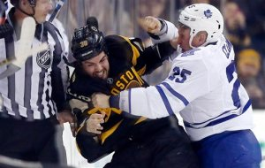 AP Photo - Boston Bruins' Zac Rinaldo (36) and Toronto Maple Leafs' Rich Clune (25) fight during the first period of an NHL hockey game in Boston, Saturday, Jan. 16, 2016.
