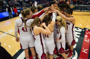 Jossph Guzy | Photo Editor - The women's team huddles at center-court before their matchup against Fordham last Sunday.