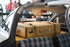 Photo by Seth Culp-Ressler | Features Editor. Tailored suitcases in a 1956 Mercedes-Benz 300SL Gullwing.