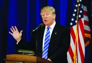 AP Photo. Republican presidential candidate Donald Trump speaks at the Polish National Alliance, Wednesday, Sept. 28, 2016, in Chicago. Trump's ambiguous answer to a debate question on nuclear restraint raised doubts about his understanding of the issue. On the other hand, his words actually mirror the nub of a policy argument inside the Obama administration. (AP Photo/John Locher)