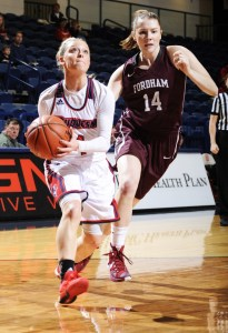 Courtesy of Duquesne Athletics Duquesne point guard Chassidy Omogrosso drives to the hoop against the Fordham Rams in her freshman season on the Bluff.