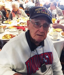 Brandon Addeo | News Editor Leo Plunkett, 100, of Penn Hills, visited Duquesne's Veterans' Breakfast Nov. 11.