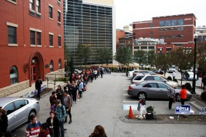 Rachel Strickland   Staff Photographer Polling lines stretch for a block down Washington Place.  Pittsburgh's Ward 1 District 1, which covers Downtown and the Bluff, voted 69.5 percent in favor of Clinton.