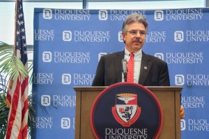 Duke Archive Photo Duquesne University President Ken Gormley reversed his previous decision and signed the statement supporting the Deferred Action for Childhood Arrivals Feb. 23.