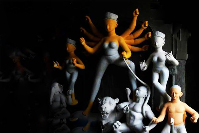 durga idol making 2014
