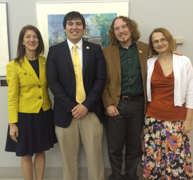 From left to right: Tracy Mancini, dean of Arts, Sciences, and University Transfer (ASUT); Casey VanAlstyne; Andrew McCrae; Svetlana Yokum, ASUT instructor of German