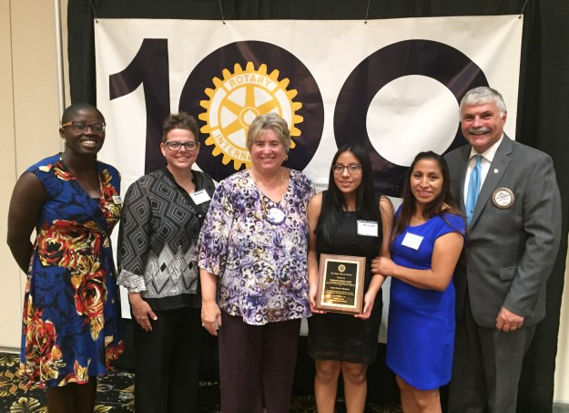 (L to R) Alexandra Zagbayou - Executive Director, Student U; Holly Guss - College Adviser, Student U; Meg Solera, Co-Chair, Scholarship Committee, Durham Rotary Club; Laura Vasquez, recipient of the Century Scholarship; Blanca Vasquez, Laura's mother, Dr. Bill Ingram