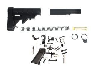 L-E Mil-Spec Stock Buffer Tube Kit With Recoil Pad & Full Lower Parts Kit - Complete AR-15 Lower Setup
