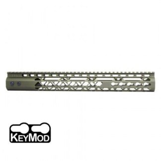 15″ AIR LITE KEYMOD FREE FLOATING HANDGUARD WITH MONOLITHIC TOP RAIL (ANODIZED GREEN)