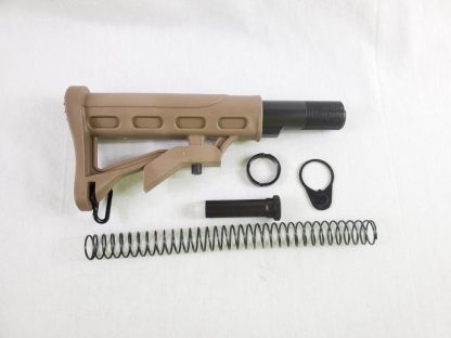 AR-15 Adjustable Stock w: Collapsible Buffer Tube Kit - 6 piece - ST003+ST007 - Tan