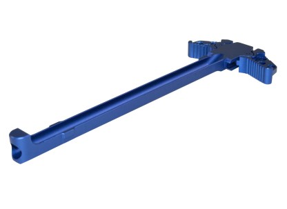 AR-15 Ambidextrous Charging Handle, Blue Side Angle