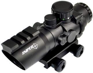 Sniper PM4X32SH 4 x 32 Prisma Glass W:E Illuminated Horseshoe Reticle Integrated with Top Rail, Red:Green