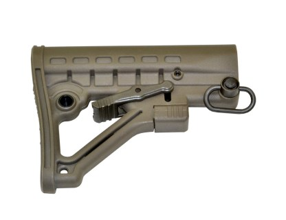 Mil-Spec Adjustable Stock w: QR Sling Adapter, Green Striaght