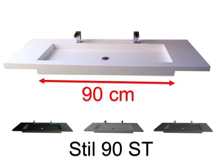 Doppelwaschtischplatte 50 X 100 Cm Hangend Oder Versenkt Aus Mineralharz Stil 90 St