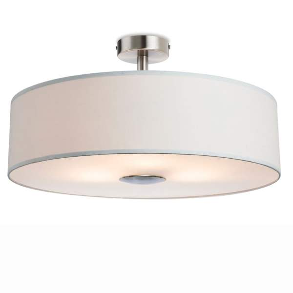 4887cr Madison Semi Flush Light in Cream Fabric with Diffuser Madison Semi Flush Light in Cream Fabric with Diffuser