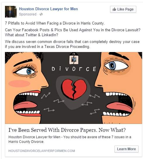 law firm facebook ad divorce