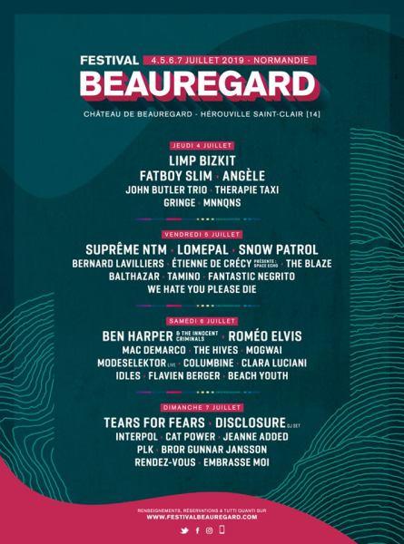 Beauregard 2019 programmation