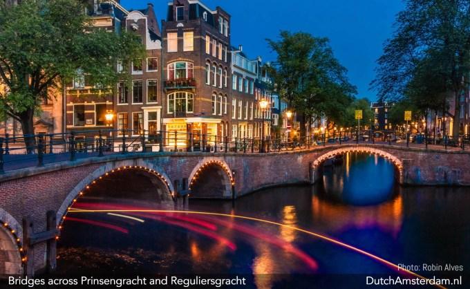 Illuminated bridges in Amsterdam