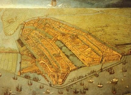 Amsterdam city map painted in 1538