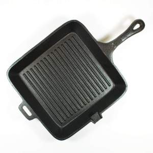 CAST IRON SQUARE GRILL PAN WITH ASST. HANDLE 10.5X1.75