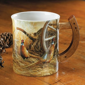 Autumn Glow – Pheasants Sculpted Coffee Mug