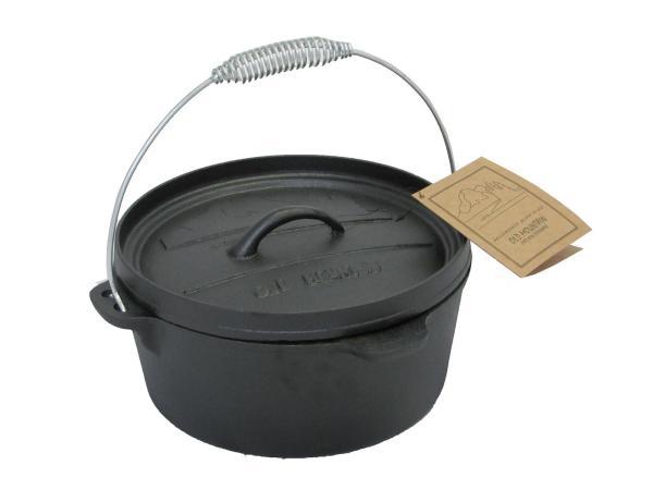 Cast Iron Dutch Oven 4qt Flat Bottom With Flanged Lid Dutch