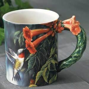 Summer – Ruby-throated Hummingbird Sculpted Coffee Mug
