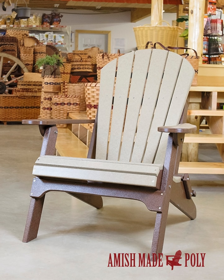 Amish Made Poly Folding Adirondack Chair Weatherwood Brown