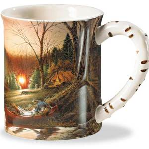 Morning Solitude Camping Scene Sculpted Coffee Mug