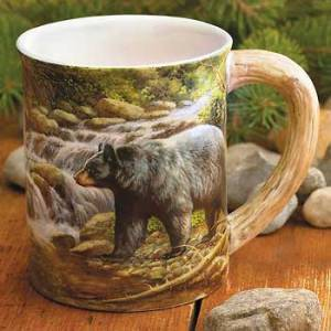 Shadow of the Forest – Black Bear Sculpted Coffee Mug