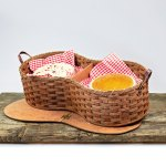 4 Pie Basket with Tray Lid Brown