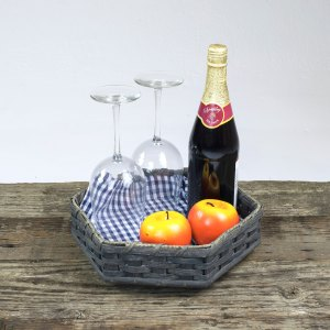 6 Corner Lazy Susan Basket Gray