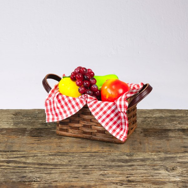 Small Fruit Basket with Leather Handle Brown
