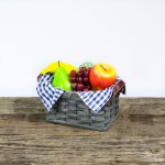 Small Fruit Basket with Leather Handle Gray