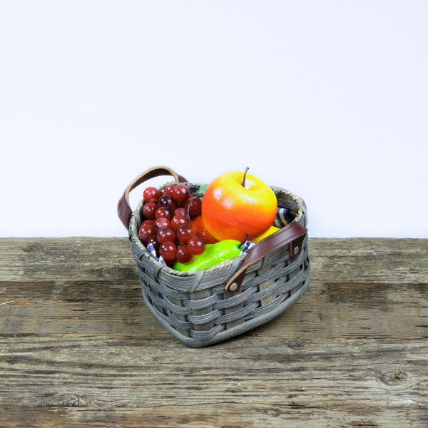 Small Heart Fruit Basket with Leather Handle Gray