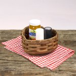 Small Heart Lazy Susan Basket Brown