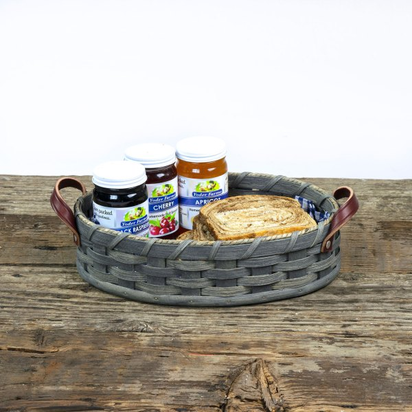 Medium Oval Serving Tray Basket Gray