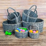 Large Round Egg Basket Gray
