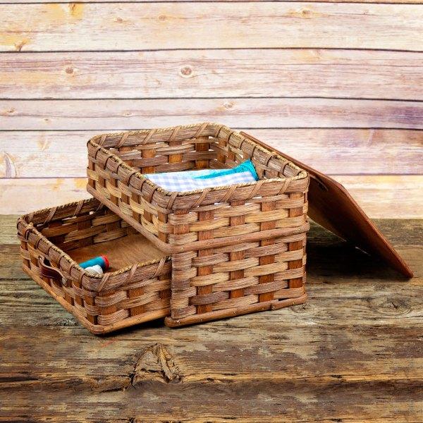 Medium Sewing Chest Drawer Basket Brown