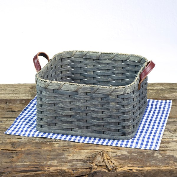 Square Paper Plate Basket Gray