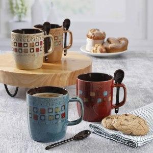Mr. Coffee Cafe Americano 8 Pc Mug Set w/Spoons