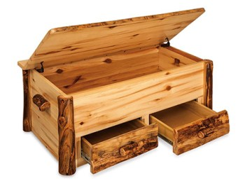 Amish Rustic Pine Hope Chest with Drawers