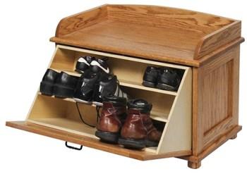 Amish Oak Wood Chest with Shoe Storage