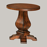 Amish Wilmington Large Round Pedestal End Table