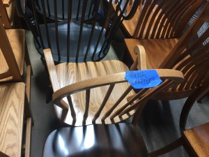 A DutchCrafters Windsor chair that's been stained, finished and dried.